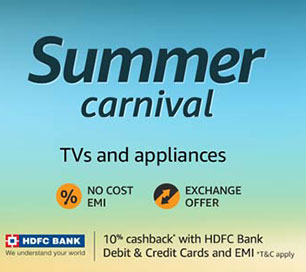 Extra 10% Cashback on TVs, Refrigerators, ACs for HDFC Cards on Amazon.in (Apr 26-May 1)